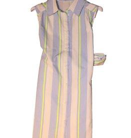 Jeycat jurk streep doorknoop mouwloos kraag