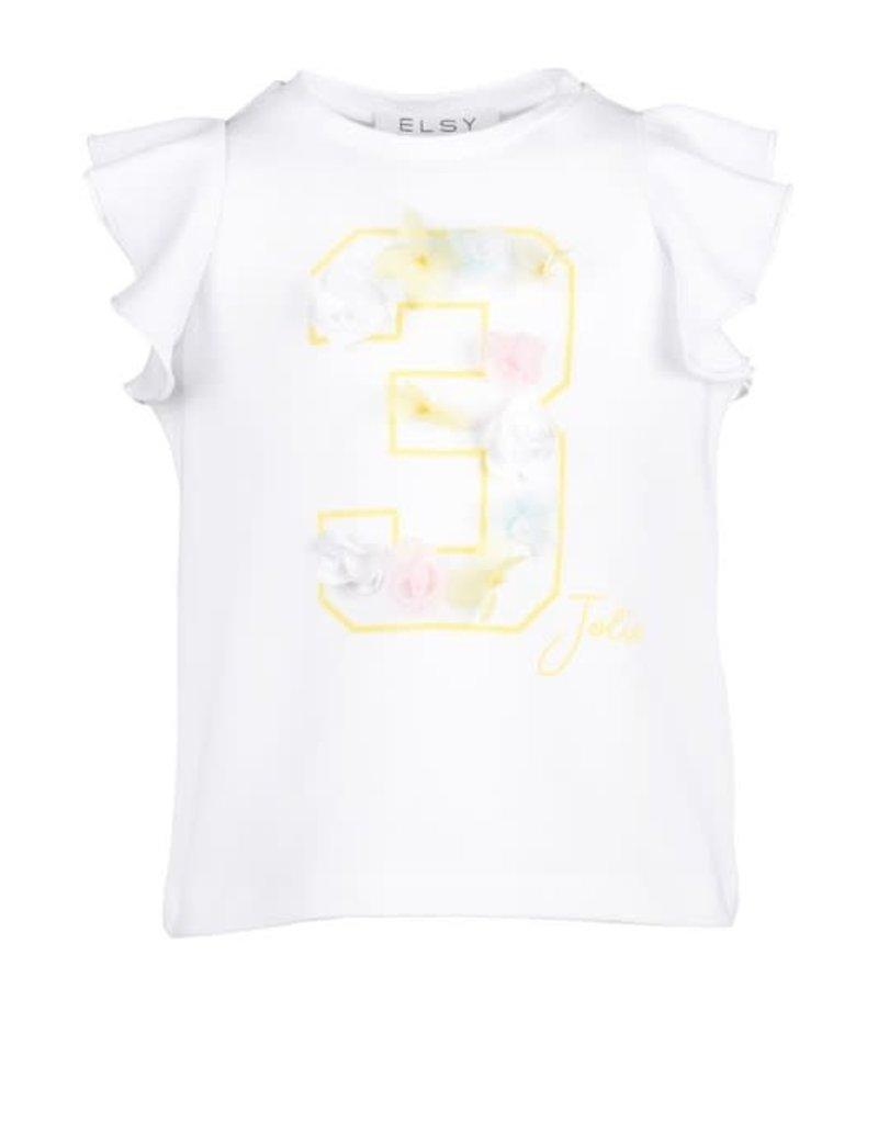 Elsy T-shirt met nummer 3 wit