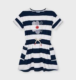 Mayoral jurk brede strepen km blauw wit