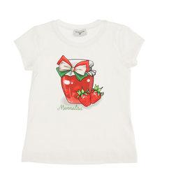 Monnalisa T-shirt wit met aardbei en strik