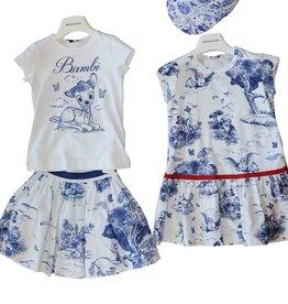 Monnalisa gevoerde rok wit blauw sprookjes katoen