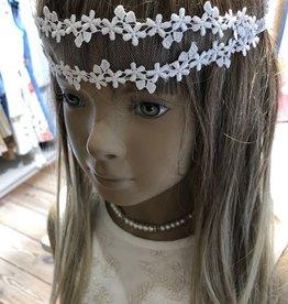 Linea Raffaelli haarband kant sterretjes ecru