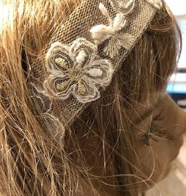Linea Raffaelli haarband ecru goud en vlindermotief