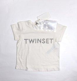Twinset ecru t-shirt naam zwart en broche