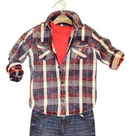 Guess geruit hemd opzetzakken blauw rood