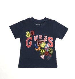 Guess blauw t-shirt km met kleuren prints