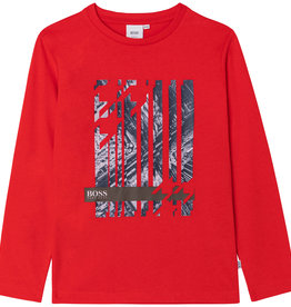 Hugo Boss rood t-shirt met print blauw lm