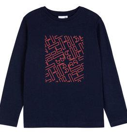 Hugo Boss T-shirt blauw lm rode letters