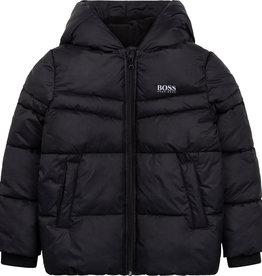 Hugo Boss zwarte dons jas met kap en rits