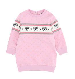 Chiara Ferragni roze jurk sweatstof logo