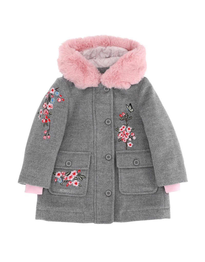 Monnalisa jas grijs roze kraag en bloemen