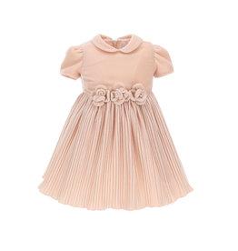 Monnalisa roze fluwelen jurk met plisse rok