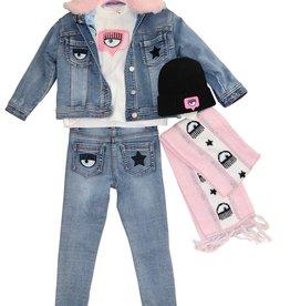 Chiara Ferragni jeans blazer stretch faux bont roze