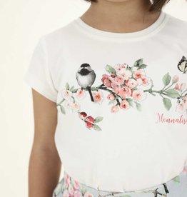 Monnalisa T-shirt km ecru bloemen en vogel