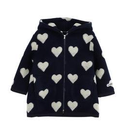 Monnalisa jas donker blauw met hartjes