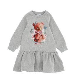 Monnalisa sweat jurk grijs met beer