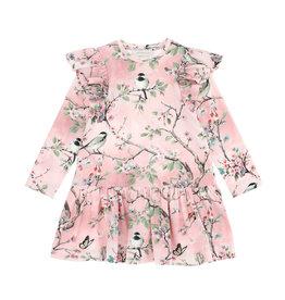 Monnalisa roze jurk lm takjes en vogels