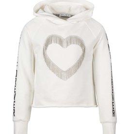 Elsy ecru hoodie met sliertjes