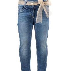 Elsy blauwe jeans broek met ceintuur