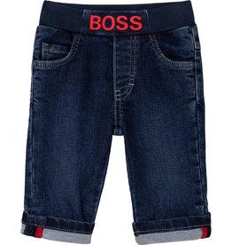 blauwe  jeans broek Boss rood