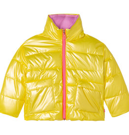Billieblush gele dons jas met fluo rits