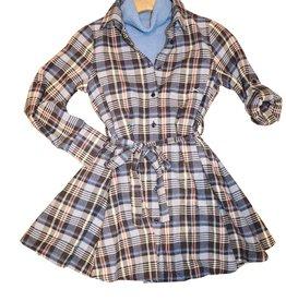 Scapa jurk geruit blauwtinten