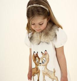 Monnalisa bambi jurk ecru met vegan bontkraag
