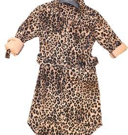 Guess jurk met ceintuur in leopard print