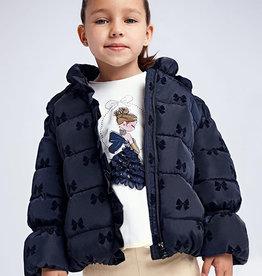 Mayoral jas donker blauw met strikjes print