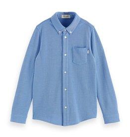 Scotch&Soda hemd pique katoen blauw