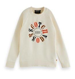 Scotch&Soda ecru sweater logo kleur
