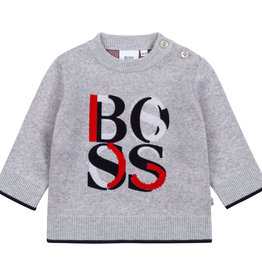 Hugo Boss grijze chine trui letters rood blauw