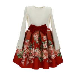 Monnalisa jurk met top ecru en rok rood bloemen