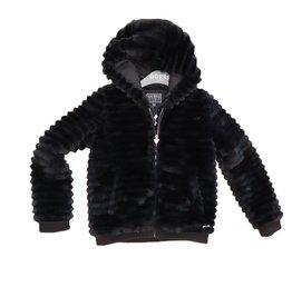Guess jasje eco fur zwart  streepeffect