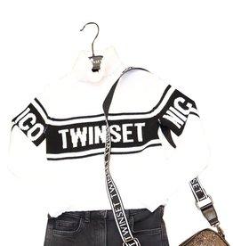 Twinset ecru trui met col logo zwart