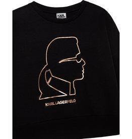 Karl Lagerfeld zwarte sweater met hoofd karl