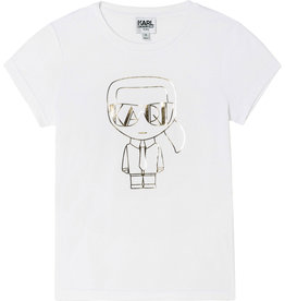 Karl Lagerfeld wit t-shirt km met goud KARL