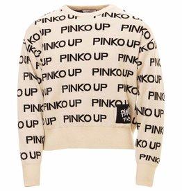 Pinko Up ecru trui met zwarte letters pinko