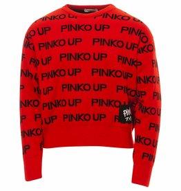 Pinko Up rode trui met zwarte letters pinko