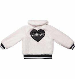 Pinko Up faux bont ecru jasje met letters achter