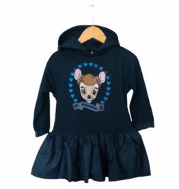 Monnalisa jurk blauw  met kap en bambi