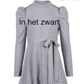 Elsy zwarte rib jurk met col