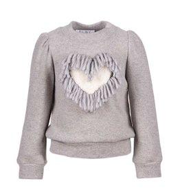 Elsy grijze trui met hart en franje