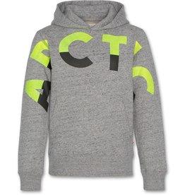 AO76 grijze hoodie print fluo geel