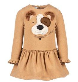 Elsy camel brei jurk met hond