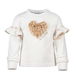 Elsy ecru t-shirt met camel hart