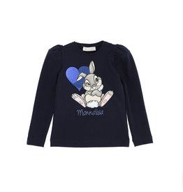 Monnalisa T-shirt donker blauw met konijn