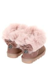 Monnalisa suede laarsje met glitters roze bontrand