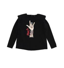 Monnalisa T-shirt zwart met armbanden print