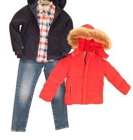 Guess rode dons jas g met steekzakken en kap afritsbaar